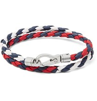 Tod's Woven Leather Wrap Bracelet Red