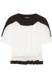 Isabel Marant Rayner Two Tone Cotton Gauze And Crepe Top White