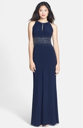 Js Boutique Embellished Cutaway Jersey Gown