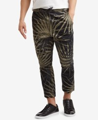 Kenneth Cole Reaction Men's Cropped Stretch Palm Print Drawstring Pants Olive Drab