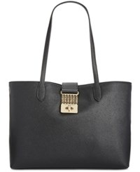 Tommy Hilfiger Lia Chain Saffiano Shopper Tote Black