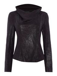 Episode Faux Suede Jacket With Waterfall Front Black