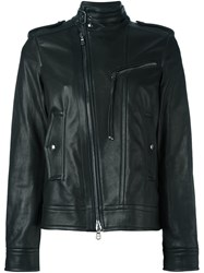 Diesel Black Gold Zipped Biker Jacket Black