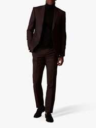 Jaeger Wool Flannel Slim Fit Suit Trousers Burgundy