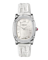 Versace Couture Oval Watch W Leather Strap Silvertone White