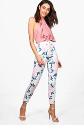 Boohoo Summer Floral Stretch Skinny Trousers Multi