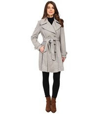 Jessica Simpson Double Breasted Trench Jacket W Pleated Skirt Heather Grey Women's Coat Gray