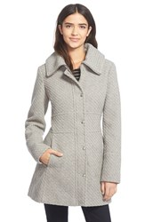 Women's Jessica Simpson Basket Weave Fit And Flare Coat Grey