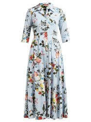 Erdem Kasia Isabelle Print Cotton Poplin Dress Blue Print