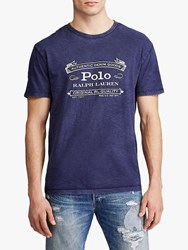 Ralph Lauren Polo Vintage Logo Custom Slim Fit Jersey T Shirt Cruise Navy