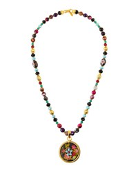 Jose And Maria Barrera Long Beaded Fire Agate Necklace W Floral Pendant Multi
