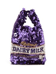 Anya Hindmarch Dairy Milk Sequinned Tote Purple Multi