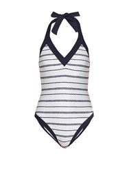 Heidi Klein Nassau Striped Swimsuit White Multi
