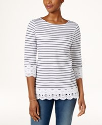 Charter Club Cotton Striped Crochet Trim Tunic Only At Macy's Bright White Combo