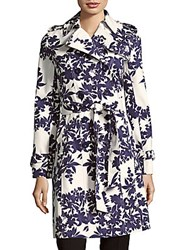 Hobbs Analia Trench Coat Blue Ivory