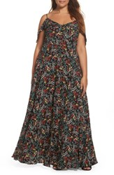 Glamorous Plus Size Women's Ruffle Print Off The Shoulder Maxi Dress Black Red Ditsy