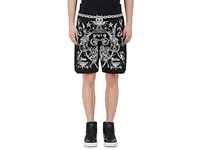 Givenchy Men's Tattoo Graphic Cotton Twill Shorts Black White