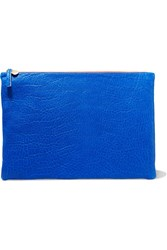 Clare V. Textured Leather Clutch Blue