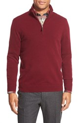 Men's Big And Tall John W. Nordstrom Quarter Zip Cashmere Sweater Burgundy Stem