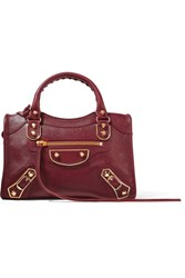 Balenciaga City Metallic Edge Mini Textured Leather Tote Burgundy