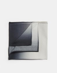 Asos Pocket Square In Wool Mix In Ombre Print Effect Black