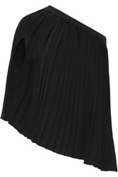 Maison Martin Margiela Mm6 Convertible Cotton Trimmed Pleated Crepe De Chine Top Black