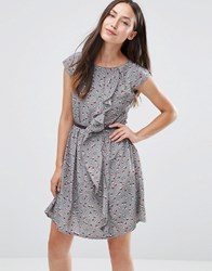 Jasmine Dress With Ruffle Side Grey
