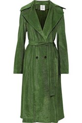 Rosie Assoulin Woman Pleated Cotton Blend Corduroy Trench Coat Leaf Green