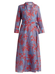 Diane Von Furstenberg Point Collar Cotton And Silk Blend Dress Blue Multi