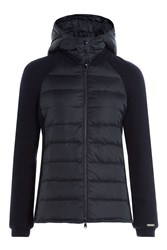 Woolrich Down Jacket With Knit Sleeves Blue