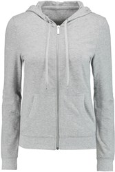Michael Michael Kors Cotton Blend Jersey Hooded Top Gray