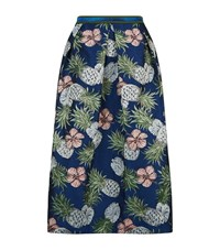Pinko Pineapple Jacquard Lurex Skirt Female Multi