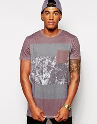 Asos Longline T Shirt With Marble Print Red
