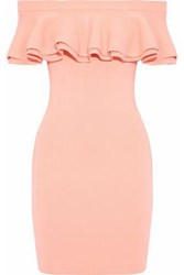Line Harriet Off The Shoulder Ruffled Ribbed Knit Mini Dress Peach