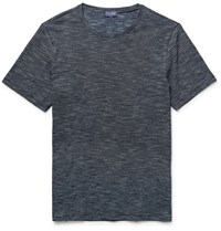 Club Monaco Space Dyed Knitted Cotton T Shirt Midnight Blue