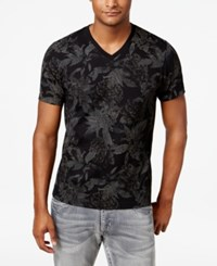 Inc International Concepts Men's V Neck Floral T Shirt Only At Macy's Deep Black