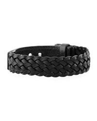 Tom Ford Men's Braided Calf Leather T Buckle Bracelet Black Silver