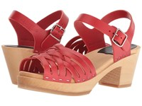 Swedish Hasbeens Braided High Red 1 Clog Mule Shoes