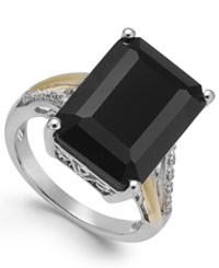 Macy's Onyx 10 1 2 Ct. T.W. And Diamond Accent Ring In Sterling Silver And 14K Gold No Color