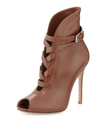 Gianvito Rossi Peep Toe Leather Lace Up Bootie Tan