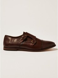 Topman Brown Leather Blinder Monk Shoes