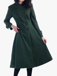Jolie Moi Double Breasted Flared Coat Soldier Green