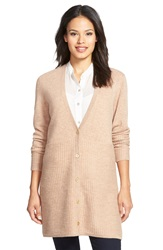 Nordstrom Stitch Detail Long Button Front Cashmere Cardigan Tan Indochine Heather