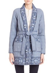 Rebecca Taylor Embroidered Cardigan Sweater Blue