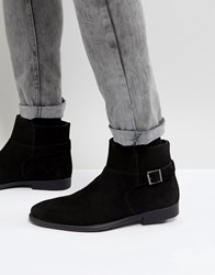 Asos Chelsea Boots In Black Suede With Strap Detail And Distressed Sole