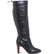 Office Knicks Block Heel Knee High Boots Black Leather