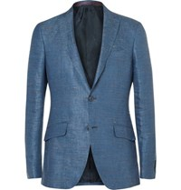 Etro Blue Slim Fit Slub Linen Blazer Blue