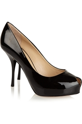 Giuseppe Zanotti Patent Leather Peep Toe Pumps Black