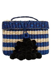 Nannacay Woman Baby Roge Pompom Embellished Striped Woven Raffia Tote Blue