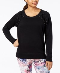 Material Girl Active Juniors' Lace Up Sweatshirt Created For Macy's Noir